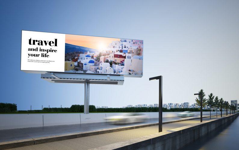 travel advertising billboard on highway 3d rendering mockup